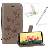 Strap Leather Case for Samsung Galaxy Note 9,Grey Wallet Leather Cover for Samsung Galaxy Note 9,Herzzer Classic Pretty Butterfly Lotus Drawing Embossed Magnetic PU Leather Foldable Stand Card Holders Smart Telephone Case with Soft Inner