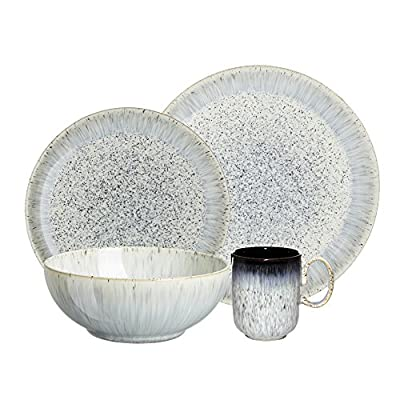 Denby USA Halo 4 Piece Kitchen Collection Dinnerware Set, Speckle - Oven, microwave, freezer and dishwasher safe Made from high quality stoneware Handcrafted by skilled artisans - kitchen-tabletop, kitchen-dining-room, dinnerware-sets - 51WVTwYI5NL. SS400  -