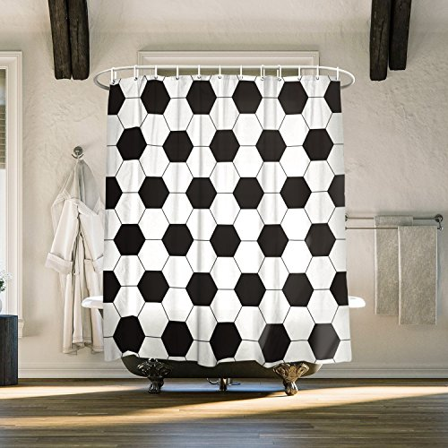 Shower Curtain with Hooks Mildew Resistant Fabric for Bathroom Decor, Waterproof & Antibacterial, World Cup Black and White Football Pattern - 72x72 inches
