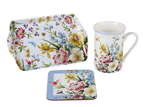 Katie alice - english garden time for tea mug, coaster & tray gift set