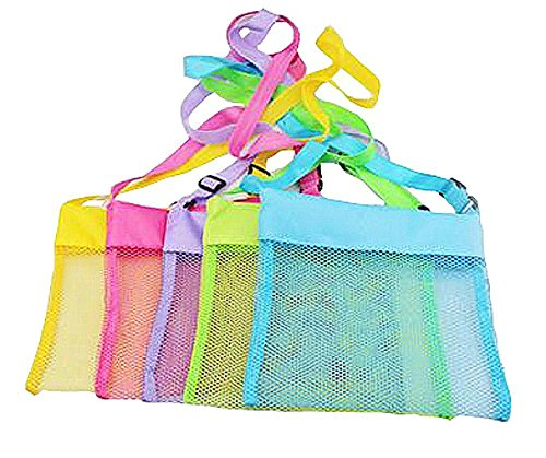 TECH-P Colorful Mesh Beach Bags Sand Away Beach Treasures Seashell Bags Toy Storage Bag -5 PACK,7.9