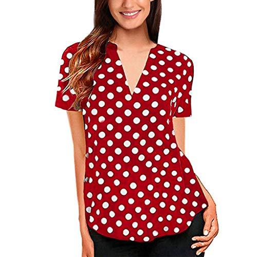 Appliance Vintage Ads (iSovze Women's Summer Polka Dot Short Sleeve V-Neck Tunic Shirt Tops Blouse Red)