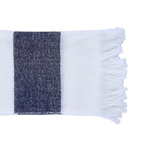 Berkshire Blanket Woven Striped Fringe Throw Blanket, Rugby Blue