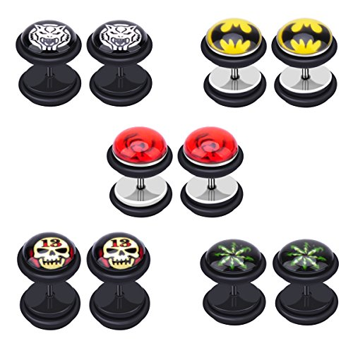 IPINK 10pcs Bat Batman Disc Plug Fake Cheater Earring Ear Ring Stud Barbell Plugs (Batman Ear Ring)