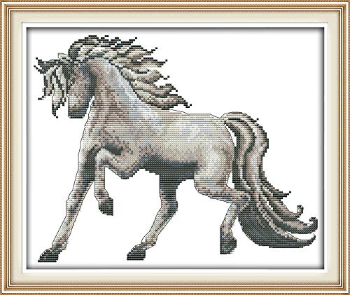 - Cross Stitch Stamped Kits Quilt Pre-Printed Patterns Cross-Stitching for Beginner Kids Adults 11CT Embroidery Crafts Needlepoint Starter Kits, Horse