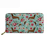 doginthehole Dachshund Dog Women Wallet Zip Around Clutch Ladies Travel Coin Purse