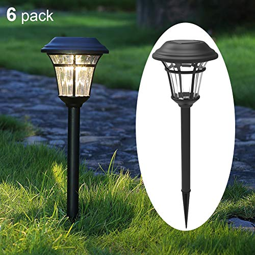 MAGGIFT 6 Lumens Solar Garden Lights Solar Landscape Lights Solar Pathway Lights Outdoor for Lawn, Patio, Yard, Walkway, Garden, 6 Pack - Landscape Light Solar Black