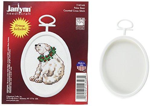 Janlynn 1143-46 18 Count Mini Counted Cross Stitch Kit, 2.75-Inch, Oval, Polar Bear ()