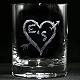 Personalized whiskey, scotch, bourbon glasses SET OF 2 (heartarrow)