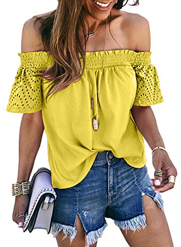 - Dokotoo Womens Female Solid Off Shoulder Hollow Out Tops Smocked Slash Neck Short Sleeve Casual Blouses Fashion T Shirts Loose Blouses Yellow Small