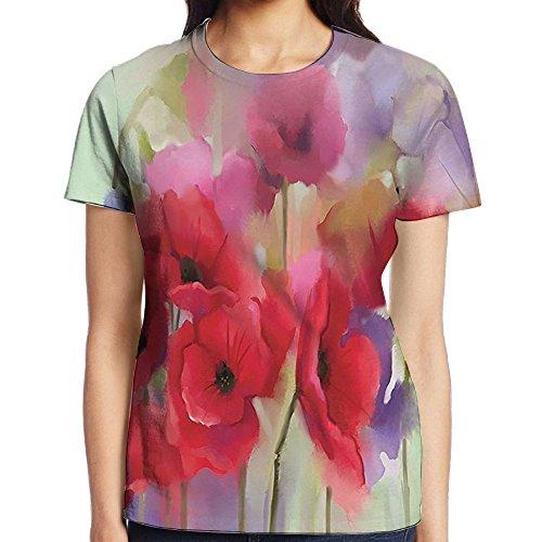 WuLion Poppy Flowers Blur Spring Floral Seasonal Romantic Artistic Women's 3D Print T Shirt M White