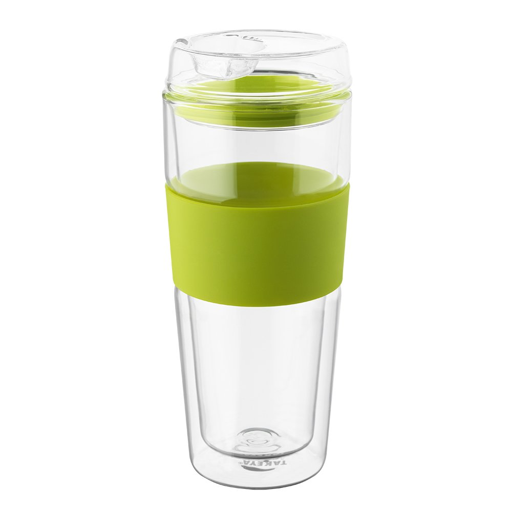 Takeya Double-Wall Glass Tea/Coffee Tumbler, 16 Ounce