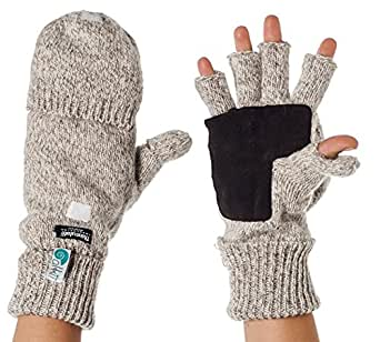 Alki'i Suede Palm 3M Thinsulate Thermal Insulation Fingerless Texting Work Gloves with Mitten Cover, Cream