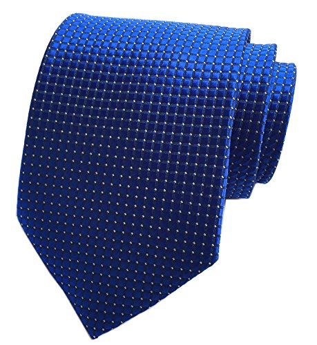Narrow Silk Ties Blue (Elfeves Mens Royal Blue Silk Cravat Ties Woven Dance Formal Neckties Gift Ideal)