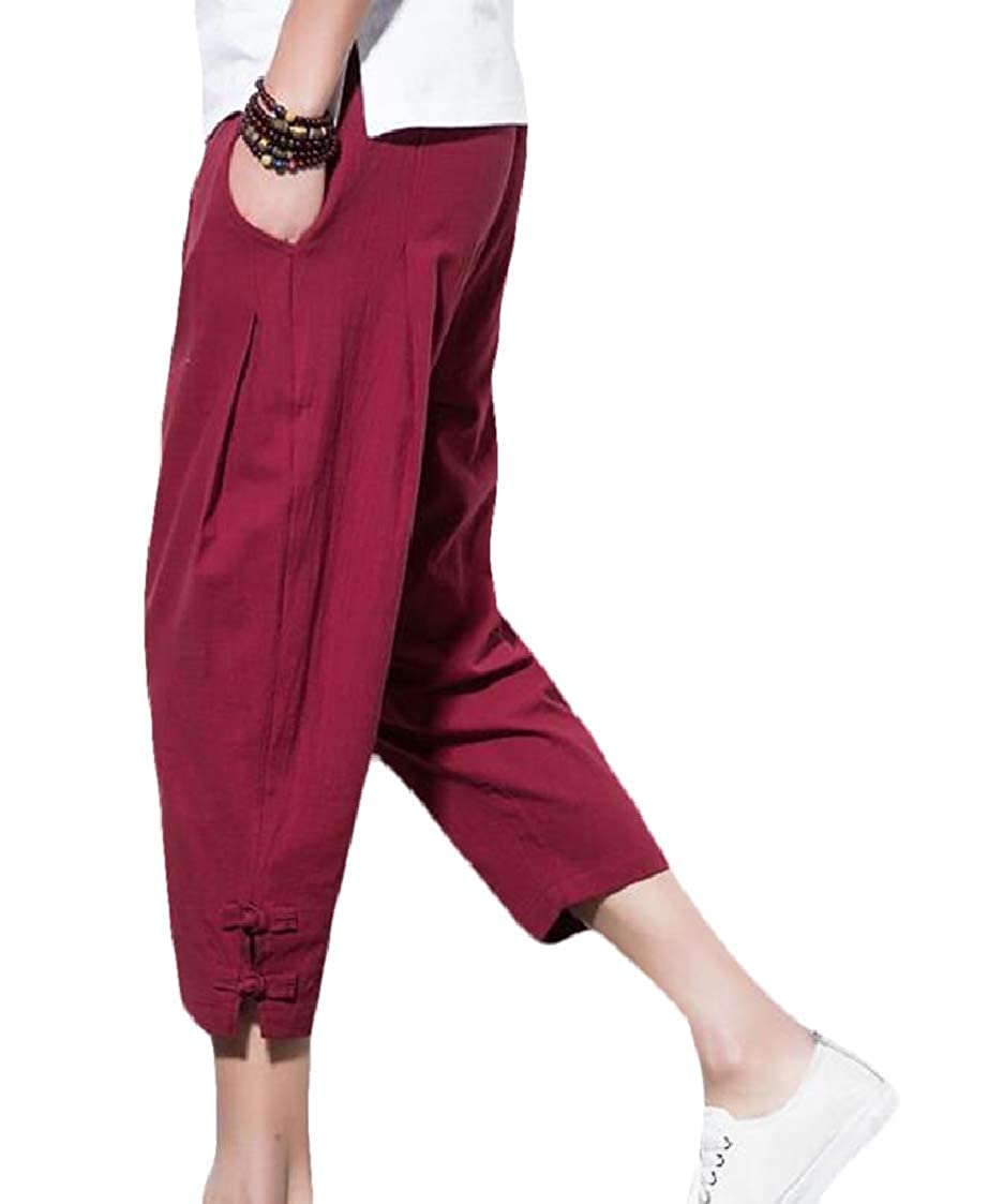 Nanquan Men Casual Hipster Cotton Linen Big /& Tall Loose fit Cropped Pants