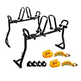 AA Products Model X35 Truck Rack with (8) Non-Drilling C-Clamps and (2sets) Double Folding Kayak J-Racks w/Extended Bolts and (2) Heavy Duty 1 Ton Ratcheting Strap