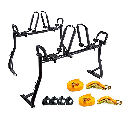 AA Products Model X35 Truck Rack with 8 Non-Drilling C-Clamps and 2 Sets Double Folding Kayak J-Racks with Ratchet Lashing Straps (Flat Bed Truck Models)
