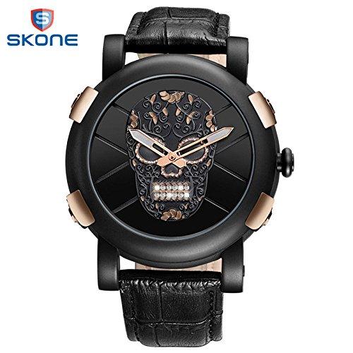 Skone 2018 - Reloj de pulsera para hombre, diseño de calavera pirata, color negro