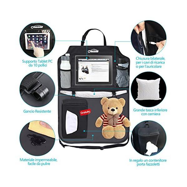 Oasser Protezione Sedili Auto Bambini 2pcs Proteggi Sedile Organizzatore Sedile Posteriore Impermeabile Supporto 3