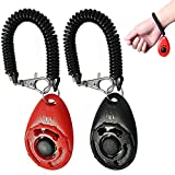 AINIMO Pet Dog Training Clicker with Wrist Strap, Dog Trainer Equipment for Training Puppy Cats Pigs Birds Horses (2-Pack)