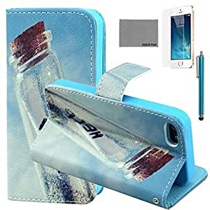 Wish Drift Bottles Pattern PU Leather Case with Screen Protector and Stylus for iPhone 5/5S