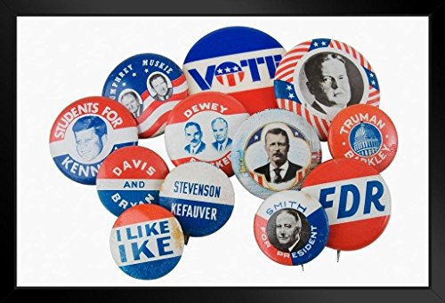 Vintage Presidential Election Buttons Pins Photo Art Print Framed Poster 20x14 inch