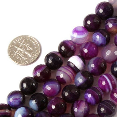 """GEM-inside Banded Purple Agate Gemstone Loose Beads Natural Energy Power Beads For Jewelry Making Round 10mm Faceted 15"""""""