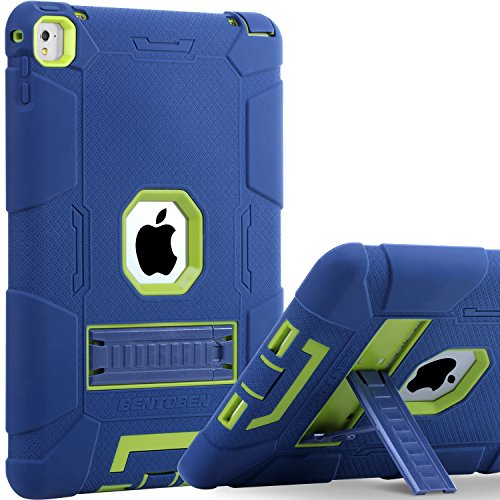 iPad Pro 9.7 Case 2016, BENTOBEN Heavy Duty Kickstand Shockproof Hybrid Full-Body Rugged Protective Case for iPad Pro 9.7 inch Retina Tablet, Navy Blue/Green