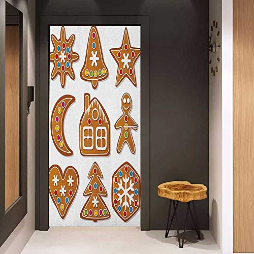 Onefzc Photo Wall Decal Gingerbread Man Set of Graphic Gingerbread Sugar Biscuits Colorful Dots and Bonbons for Home Decor W36 x H79 Brown Multicolor