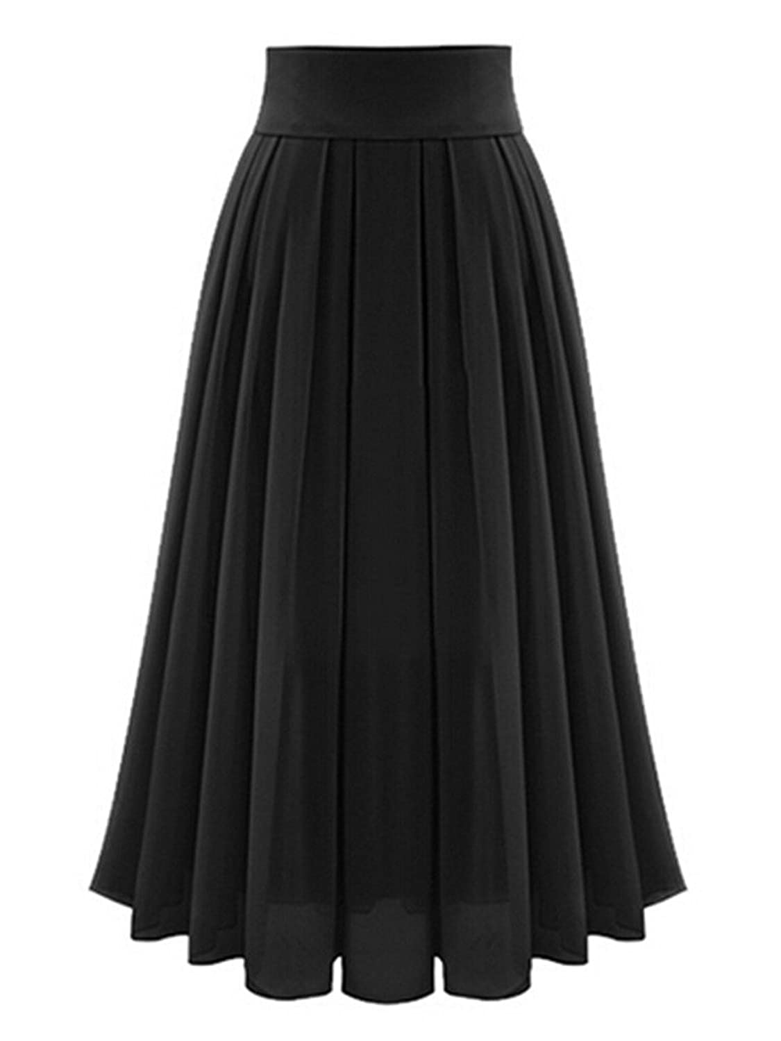 Victorian Skirts | Bustle, Walking, Edwardian Skirts High Waist Chiffon Mesh Tulle Layer Pleated Party Midi Skirt $19.99 AT vintagedancer.com