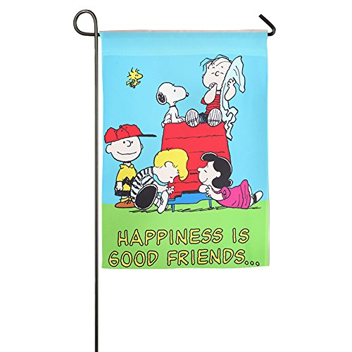 [Peanuts Happiness Is Good Friends Confederate Welcome Garden Flag] (Confederate Flag Halloween Costume)