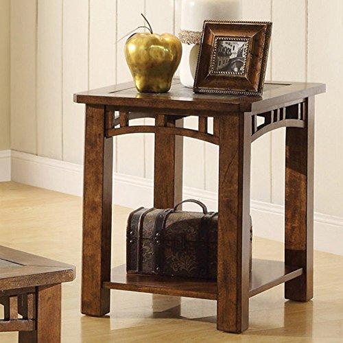 End Table with Natural Slate Insert Top (Riverside Oak Desk)
