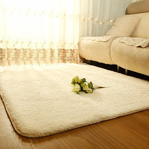 Sytian Large Size 4 Feet X 5 Feet 4.5cm Thick Decorative Modern Shag Area Rug Super Soft Silky Bedroom Living Room Sitting-room Carpet Non Slip Absorbent Bath Mat Children Kids Playing Mat (White) by Stay Young