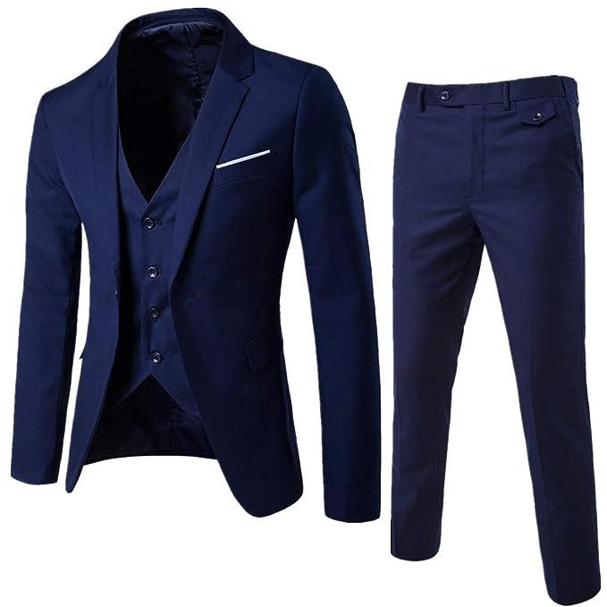 KJHSDNN Traje de Hombre Slim Blazer 3 Piezas Chaqueta+ Chaleco+ Pantalones Formal para Fiesta Boda Wedding Traje Suit Hombre