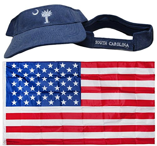 - Blue Jeans Denim Washed Style South Carolina Palmetto Visor Embroidered Hat Cap & USA Flag 3x5 Super Polyester Nylon 3'x5' Banner Grommets Double Stitched Premium Quality