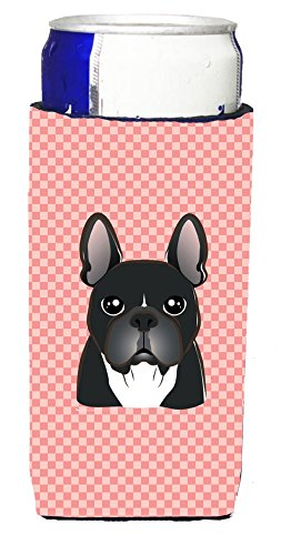 Checkerboard Pink French Bulldog Ultra Beverage Insulators for slim cans BB1227MUK