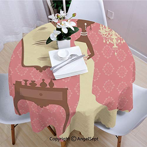 AngelSept Fashion Round Tablecloth,Wedding Dress with Flowers and Vanity Swirl Backdrop,70