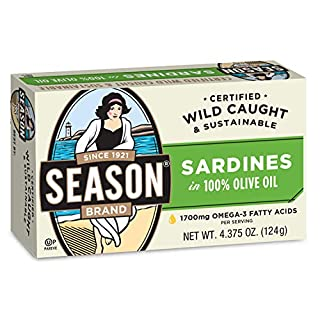 Season Sardines in Pure Olive Oil, 4.375-Ounce Tins (Pack of 12)