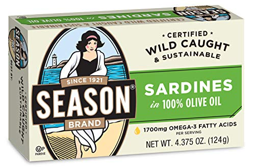 - Season Sardines in Pure Olive Oil, 4.375-Ounce Tins (Pack of 12)