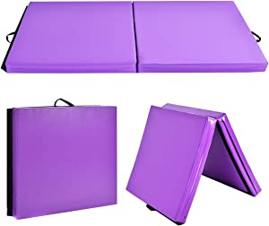 """GLACER 6' x 3' x 4"""" Gymnastic Mat, Folding Exercise Aerobics Mat with Carrying Handles for Workout, Anti-Tear Tumbling Exercise Mat for Yoga, Stretching, Cheerleading, Exercise Floor Mat for Home, Gym"""