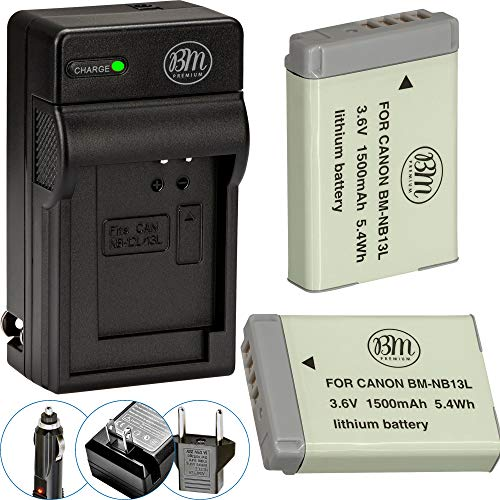 BM Premium 2-Pack of NB-13L Batteries and Battery Charger for Canon PowerShot SX740 HS, G1 X Mark III, G5 X, G7 X, G7 X Mark II, G9 X, G9 X Mark II, SX620 HS, SX720 HS Digital Cameras