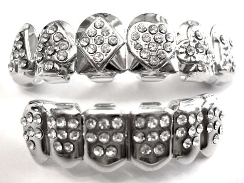 Hip Hop Platinum Silver Plated Removeable Mouth Grillz Set (Top & Bottom) Card Deck