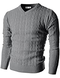 Mens Slim Fit Cable Knit Long Sleeve V-Neck Pullover Sweater