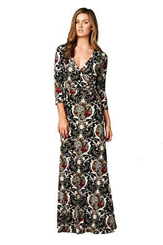 On Trend Women's Paris Bohemian 3/4 Sleeve Faux Wrap Long Maxi Resort Dress (Small, Black Red Floral)