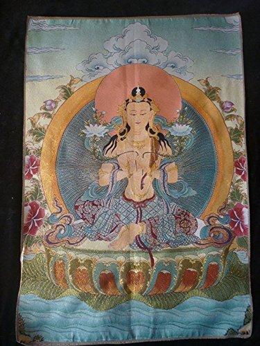 チベット、パンジャーブ産シルククラスGuanyin Buddha Thangka / TK 76   B077SV3MKM