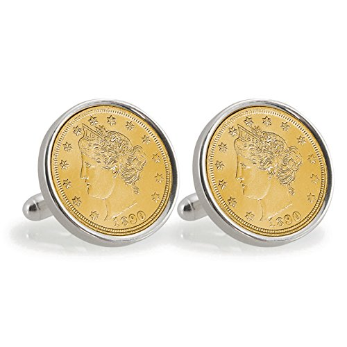 American Liberty Cufflinks (American Coin Treasures Gold-Layered 1800's Liberty Nickel Sterling Silver Cuff Links)