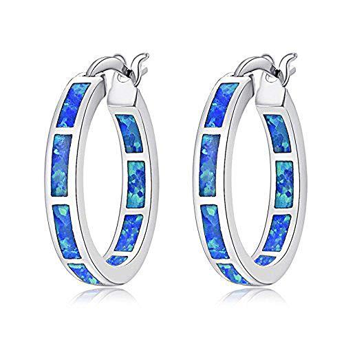 CiNily Blue Opal Hoop Earrings,Women Jewelry Rhodium Plated Gemstone Earrings 19mm