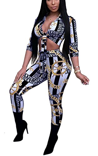 2d534f56108d Aleng Women's Sexy Chain Print Two Piece Outfits Tie Front Crop Tops Blouse  and Skinny Long Pants Set Clubwear Jumpsuit Black X-Large