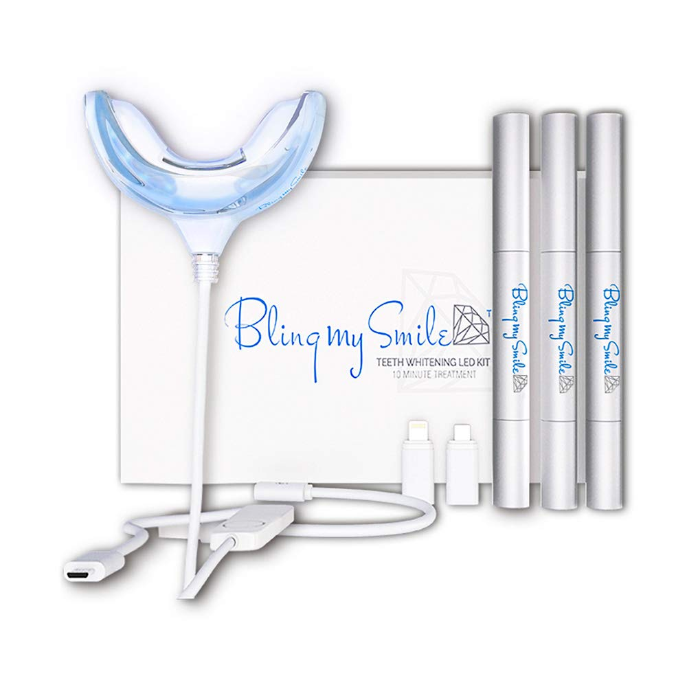 Bling My Smile Teeth Whitening Kit LED Light smile whiting tooth bright care Peroxide Gel Pen Whitener and Stain Remover Quick 10-Minute UV Led White system replacement of whitestrips strips(3PCS KIT)