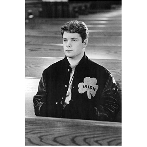 Ring Pew (Sean Astin 8x10 Photo Rudy The Goonies Lord of the Rings Trilogy B&W Sitting in Pew Wearing Letterman's Jacket kn)